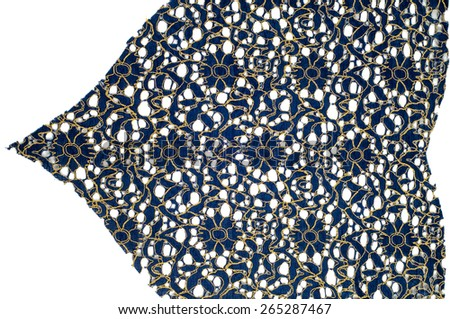 Lace on the fabric. tissue, textile, cloth, fabric, material, texture. of or relating to fabric or weaving. - stock photo