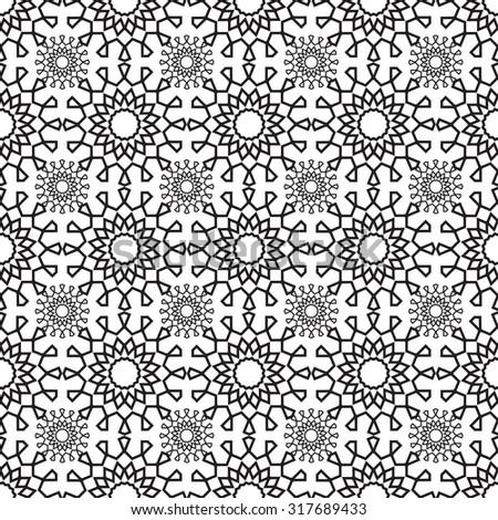 lace pattern geometric seamless monochrome - illustration - stock photo
