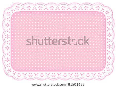 Lace Place Mat, white eyelet doily frame. Decorative polka dots on pastel pink background for home decor, table setting, arts, crafts, scrapbooks, albums, backgrounds. Copy space. isolated on white. - stock photo
