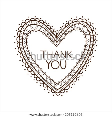 Lace sketch frame. Heart with thank you text.  - stock photo