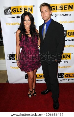 Lacey-Mae Schwimmer and Lance Bass  at the 4th Annual GLSEN Respect Awards. Beverly Hills Hotel, Beverly Hills, CA. 10-10-08 - stock photo