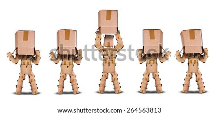 Lack of business vision concept with four boxmen characters hiding under a box and one lifting the box to see the light - stock photo