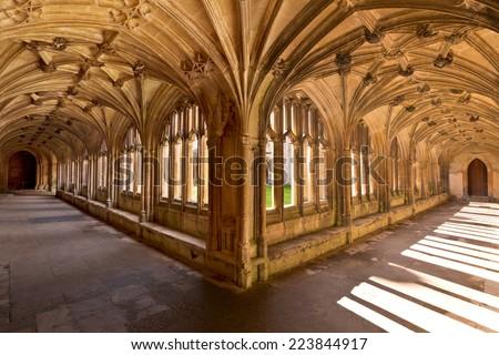Lacock Abbey Interior Cloisters England - stock photo