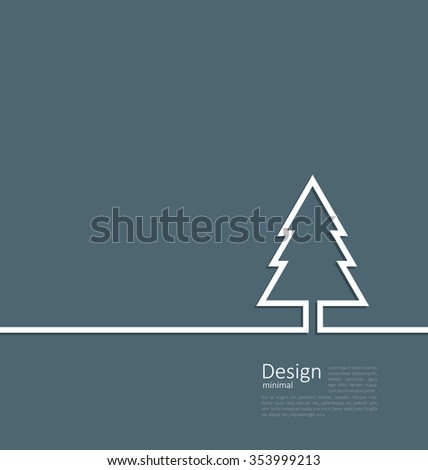 Laconic design of xmas tree fir on cleaness line flat template corparate style with space for text - raster - stock photo
