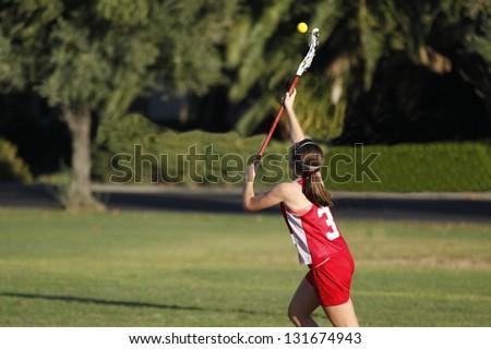 Lacrosse Catch - stock photo
