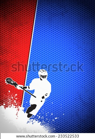 Lacrosse invitation advert poster or flyer background with empty space - stock photo