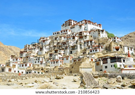 LADAKH, INDIA - AUGUST 1, 2014: Chemrey Monastery is a Buddhist monastery that was founded in 1664.It is about 40 kilometres east of Leh, northern India. - stock photo