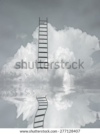 Ladder and flood - stock photo