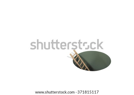 Ladder in Hole - stock photo