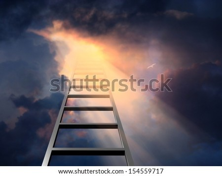 Ladder into dramatic sky - stock photo