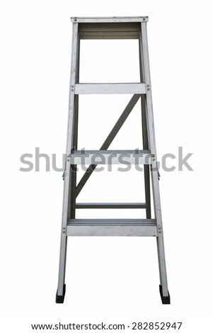 Ladder Isolated on white background, Industry tools on work site, Worker used ladder for work with subject on high position. - stock photo