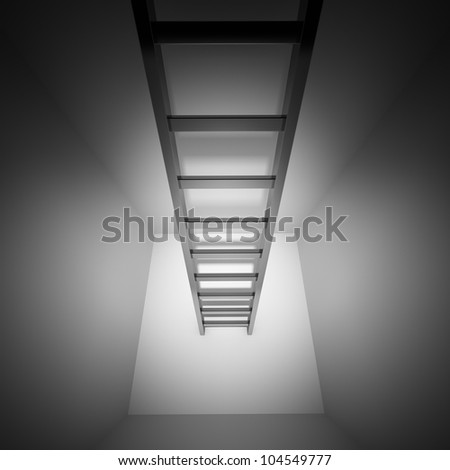 Ladder leading up out of the closet - stock photo