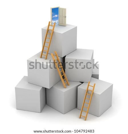 Ladder of success concept - stock photo