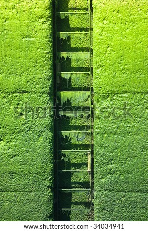 Ladder on a ocean lock - stock photo