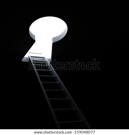 Ladder through keyhole to the bright light business concept - stock photo