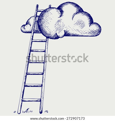 Ladder to clouds. Competition concept. Doodle style. Raster version - stock photo