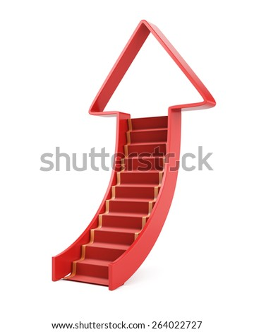Ladder up concept isolated on white. 3d render - stock photo