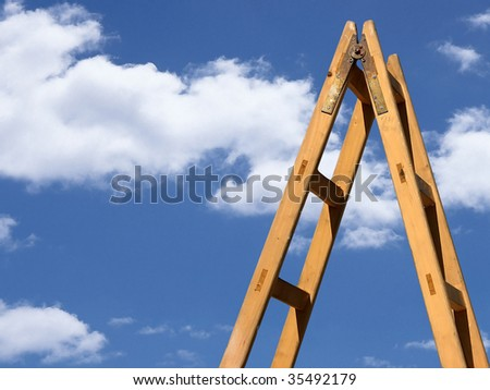 ladder with blue sky - stock photo
