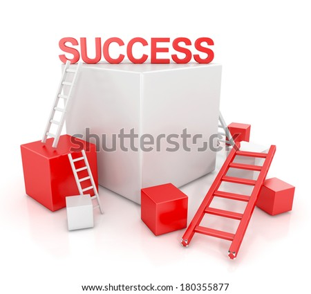 ladders to success concept. 3d render isolated on white background - stock photo