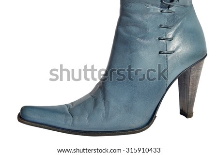 Ladies blue genuine leather boots with needlepoint - stock photo