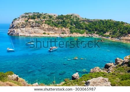 Ladiko (Anthony Quinn) Bay. Rhodes, Greece - stock photo