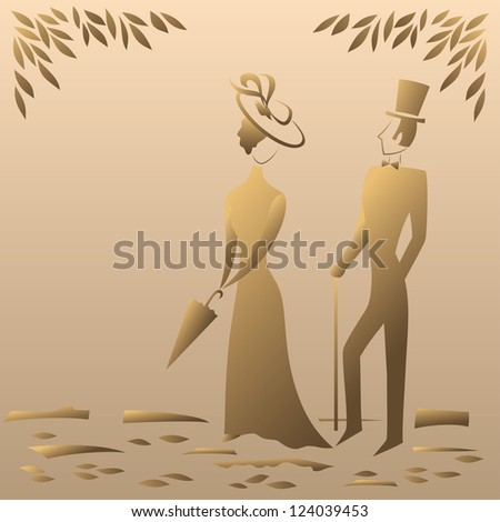 Lady and gentleman on a sentimental walk in the park, symbolic vintage style. - stock photo