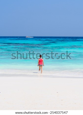 lady at a beautiful beach in Thailand - stock photo