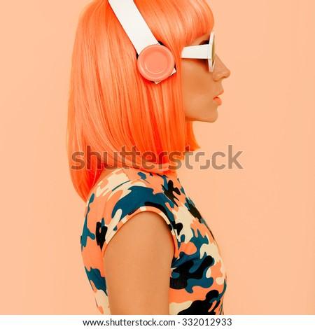Lady DJ. Fashion Music Style - stock photo