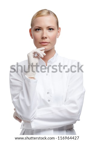 Lady doctor in medical gloves, isolated on white - stock photo