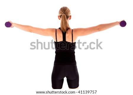 Lady doing dumbell exercises isolated - stock photo