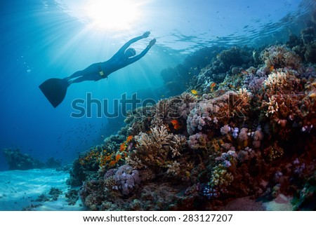 Lady freediver gliding underwater over vivid coral reef - stock photo