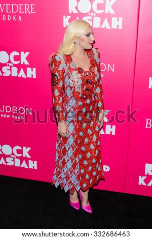 "Lady Gaga arrives at the red carpet premiere of ""Rock The Kasbah"" in New York, NY on October 19th 2015 - stock photo"