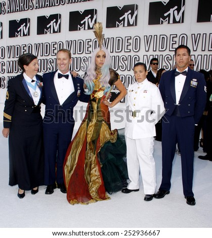 Lady Gaga at the 2010 MTV Video Music Awards held at the Nokia Theatre L.A. Live in Los Angeles on September 112, 2010. - stock photo