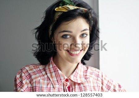 lady in pin up style - stock photo