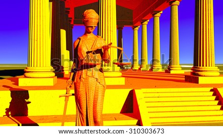 Lady Justice in court - stock photo