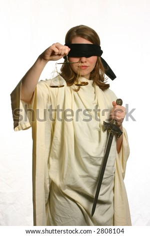 Lady Justice on White Background - stock photo
