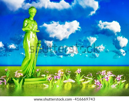 Lady of justice and flowers, 3d illustration - stock photo