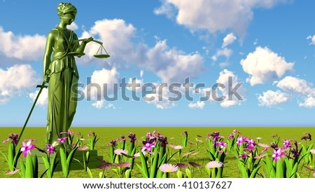 Lady of justice & flowers - stock photo