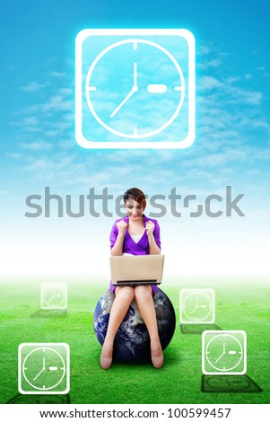 Lady on globe and Clock icons on the sky and grass field : Elements of this image furnished by NASA - stock photo