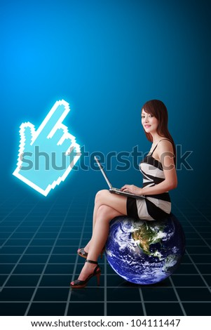 Lady on globe and pixel 's hand : Elements of this image furnished by NASA - stock photo