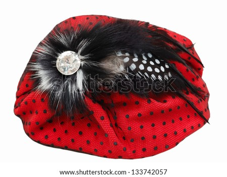 Lady's red hat isolated on white - stock photo