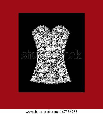 Lady's white lace corset on black fon - stock photo