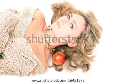 Lady with an apple - stock photo