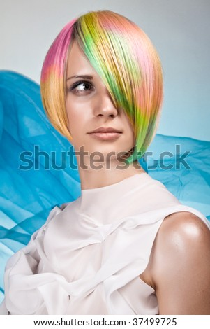 Lady with coloured hair - stock photo