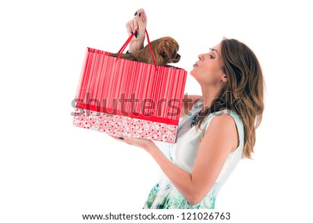 lady with dog shopping isolated on white background - stock photo
