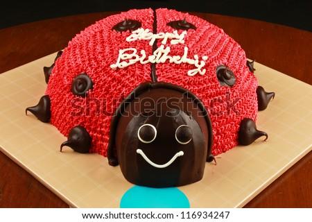 ladybug cake for birthday party - stock photo