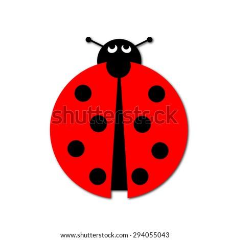 Ladybug illustration on white background. - stock photo