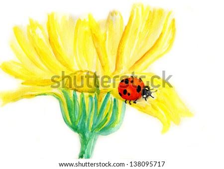 Ladybug sitting on blooming dandelion,watercolor illustration - stock photo