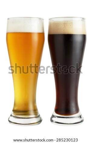 Lager and dark beer isolated on white - stock photo