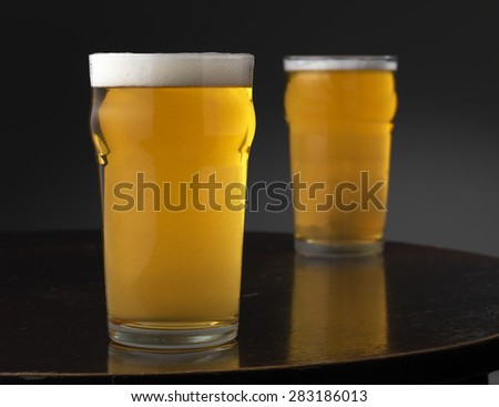 Lager on a tabletop - stock photo